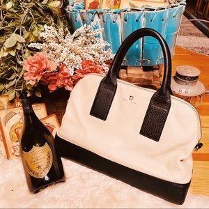 Kate Spade signature cream & black leather handbag